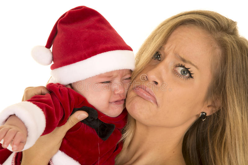 Femme et bébé de Santa triste photo libre de droits