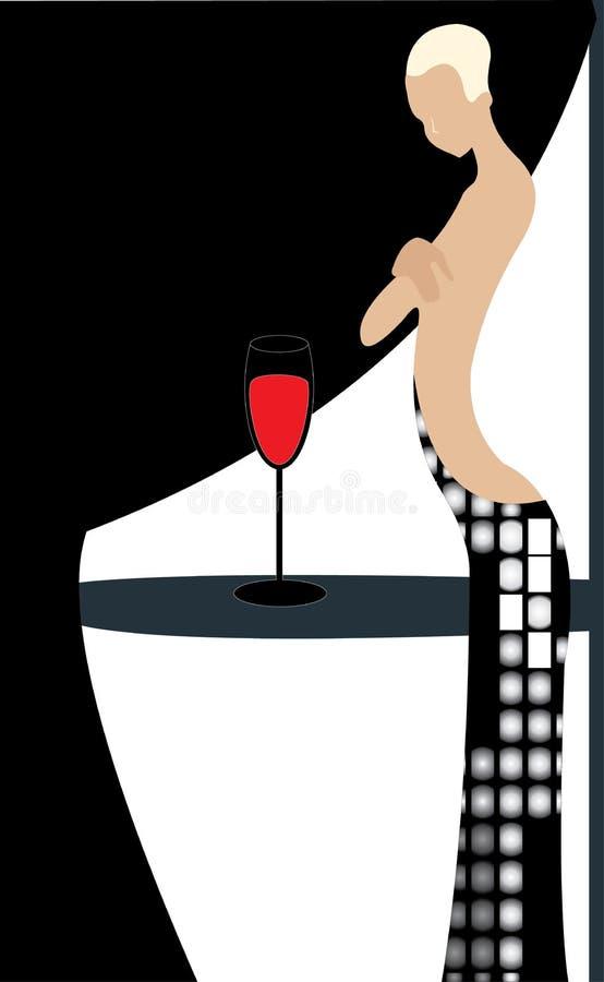 Femme et bocal sur le vin rouge illustration de vecteur