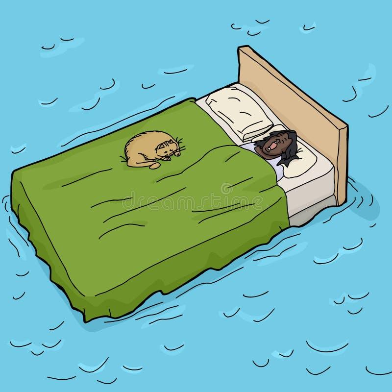 Femme et Cat Asleep sur Waterbed illustration de vecteur