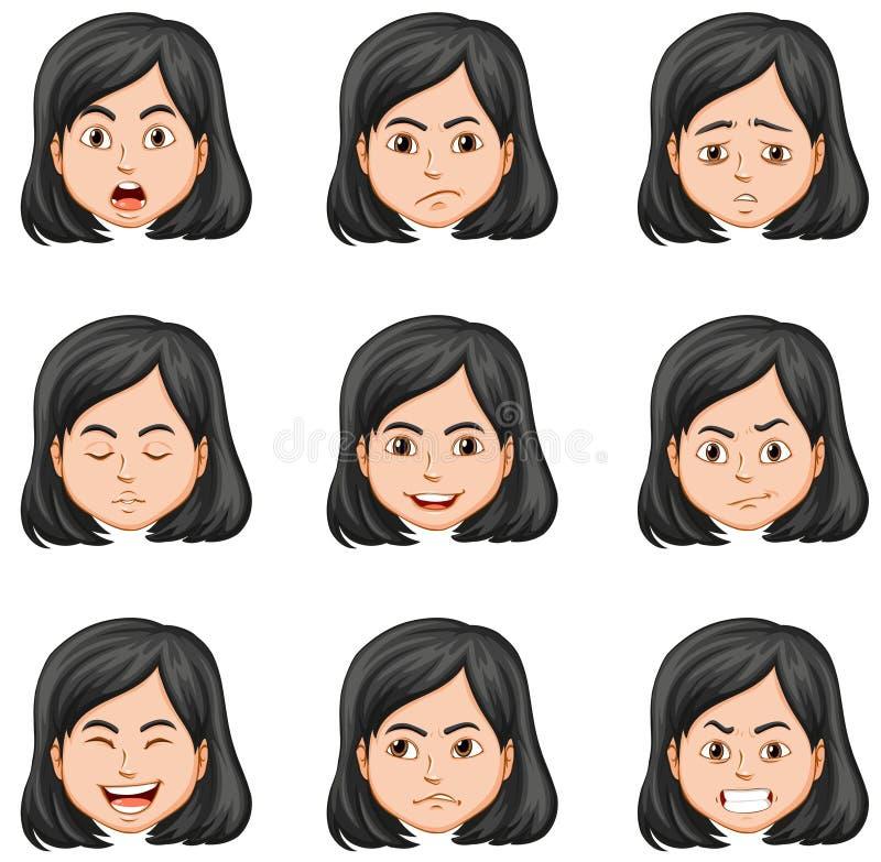 Femme et différentes expressions du visage illustration stock
