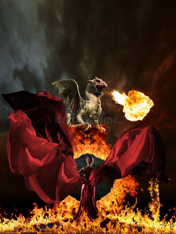 Femme et dragon de charme photos libres de droits