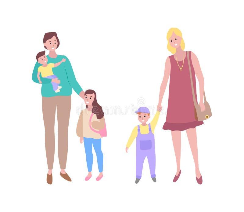 Femme et enfant, enfants avec la famille de mères illustration libre de droits