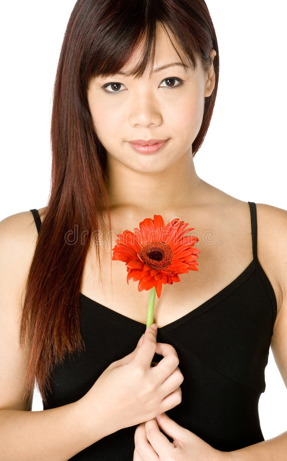 Femme et fleur photos libres de droits
