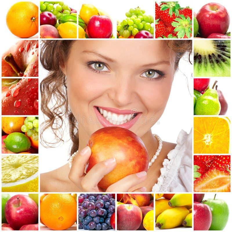 Femme et fruits photographie stock