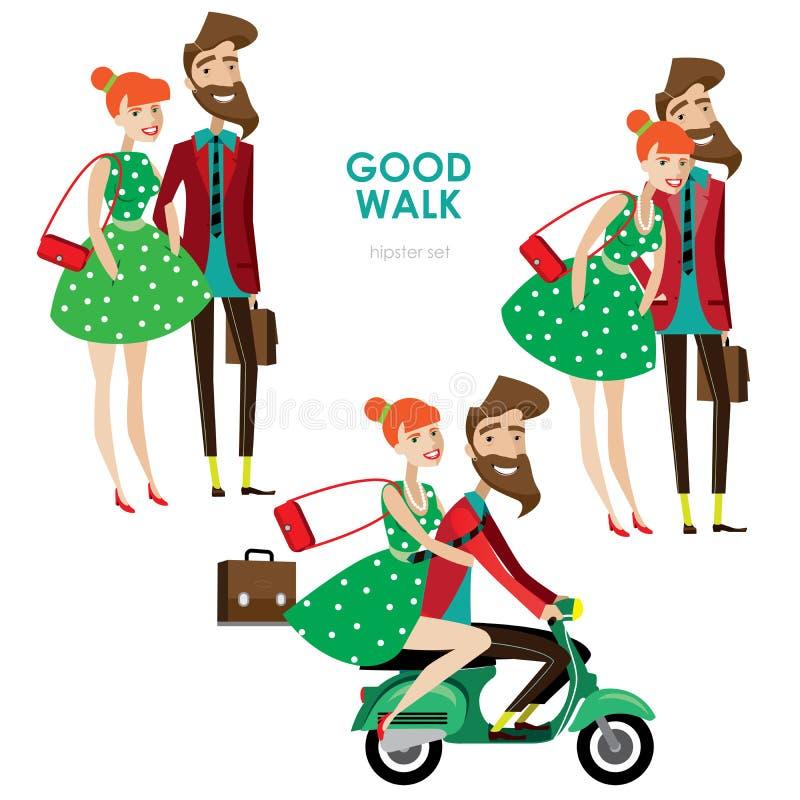 Femme et homme de hippie sur le scooter illustration stock