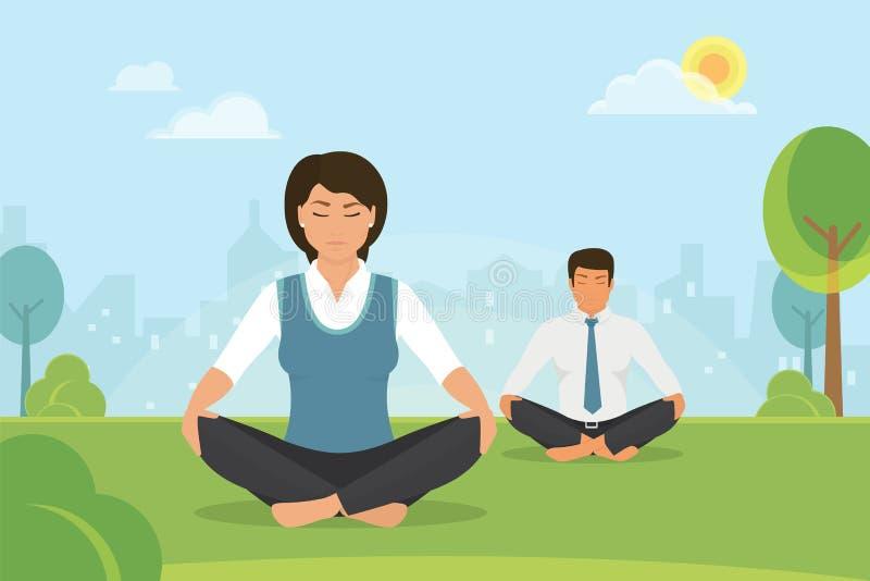 Femme et homme faisant la méditation en position de lotus dans le parc illustration stock