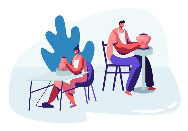 Femme et homme faisant le pot sur la roue tournante pendant l'atelier de poterie Potier Art Hobby, mâle et personnages féminins c illustration libre de droits