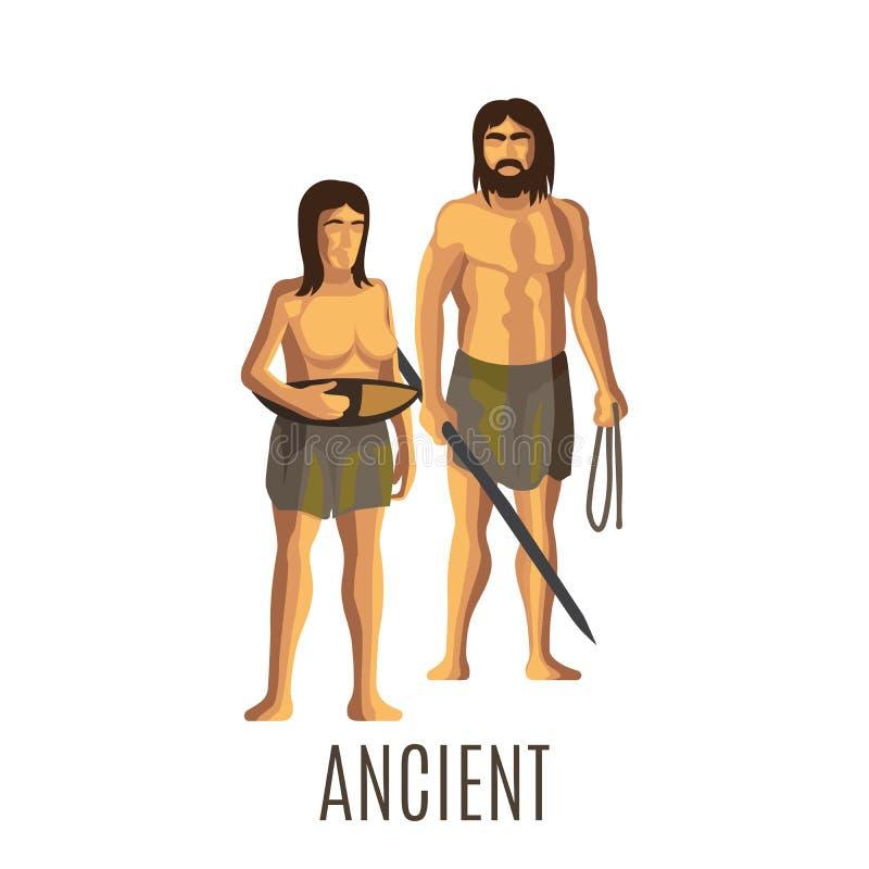 Femme et homme préhistoriques antiques illustration de vecteur