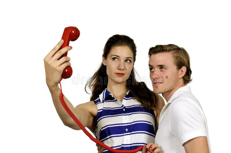 Femme et homme prenant un selfie photo libre de droits