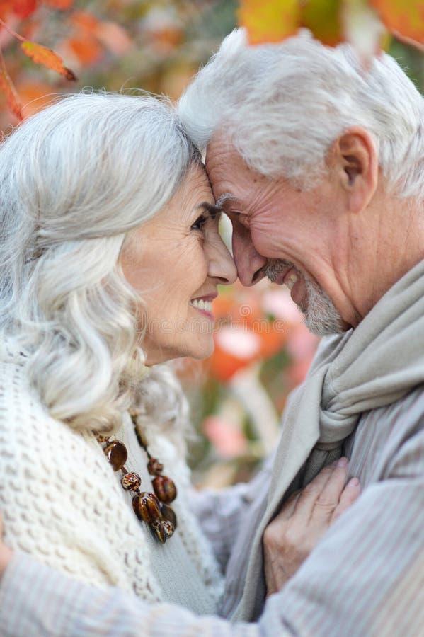 Femme et homme supérieurs heureux en parc photos stock
