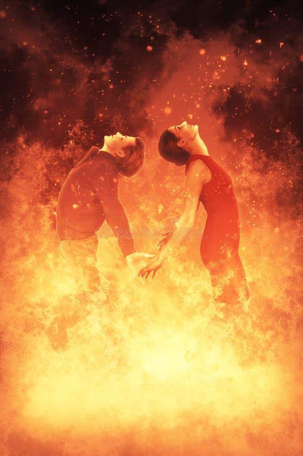 Femme et homme sur le feu illustration de vecteur