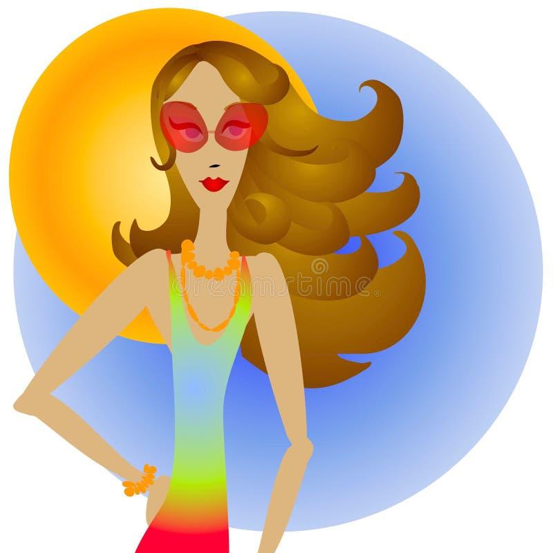 Femme et lunettes de soleil de Brunette illustration libre de droits