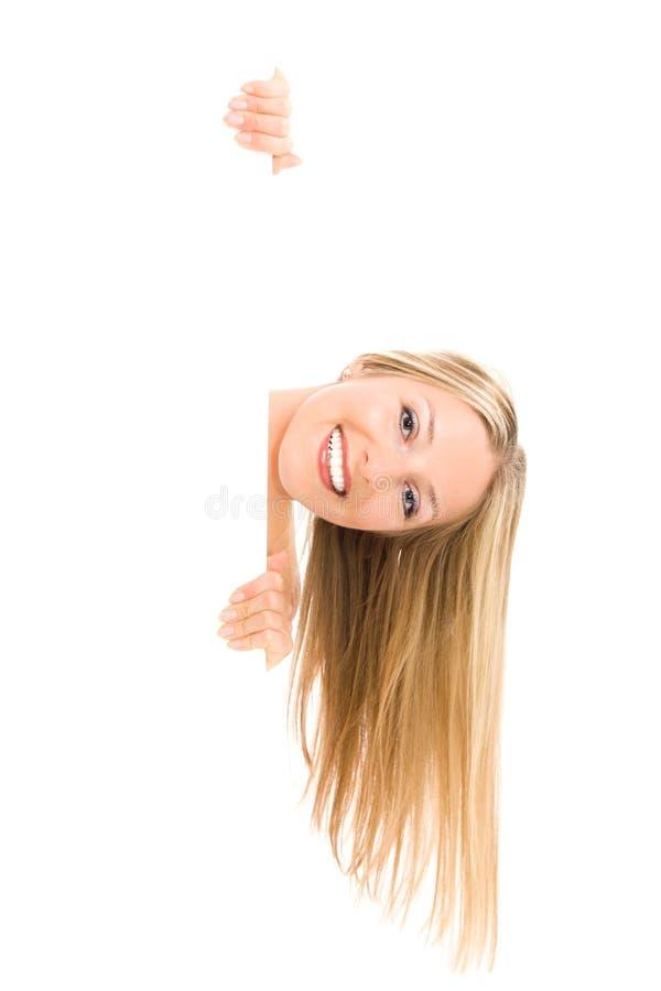 Femme et panneau blanc photo libre de droits