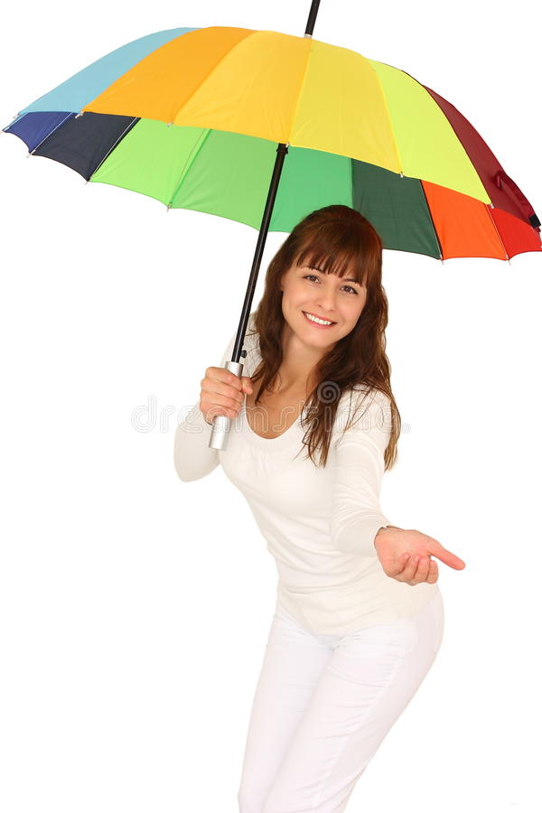Femme et parapluie photographie stock