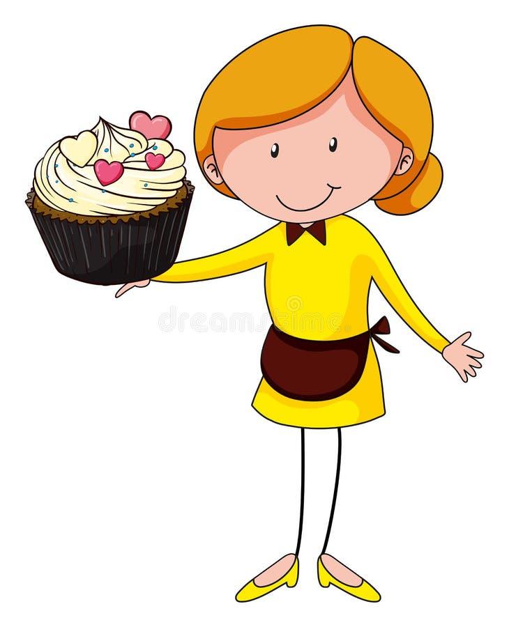 Femme et petit gâteau géant illustration de vecteur