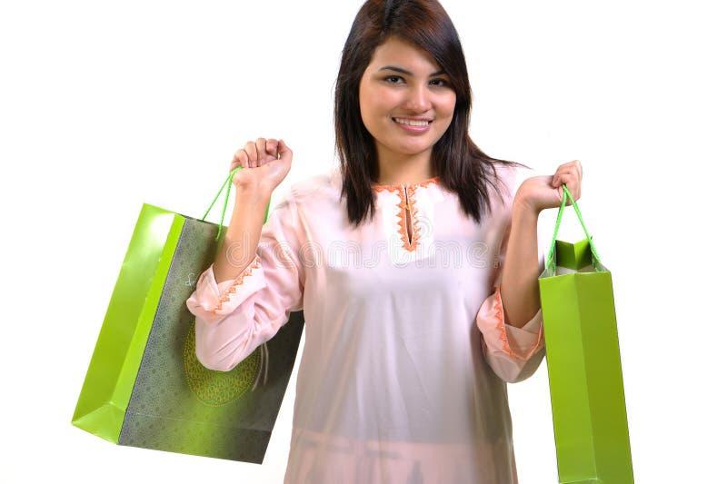 Femme et sac à provisions photo libre de droits