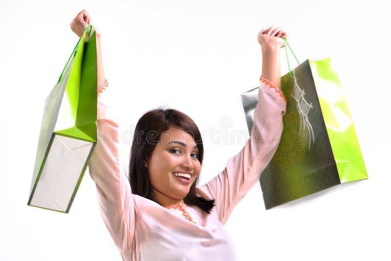 Femme et sac à provisions photographie stock libre de droits