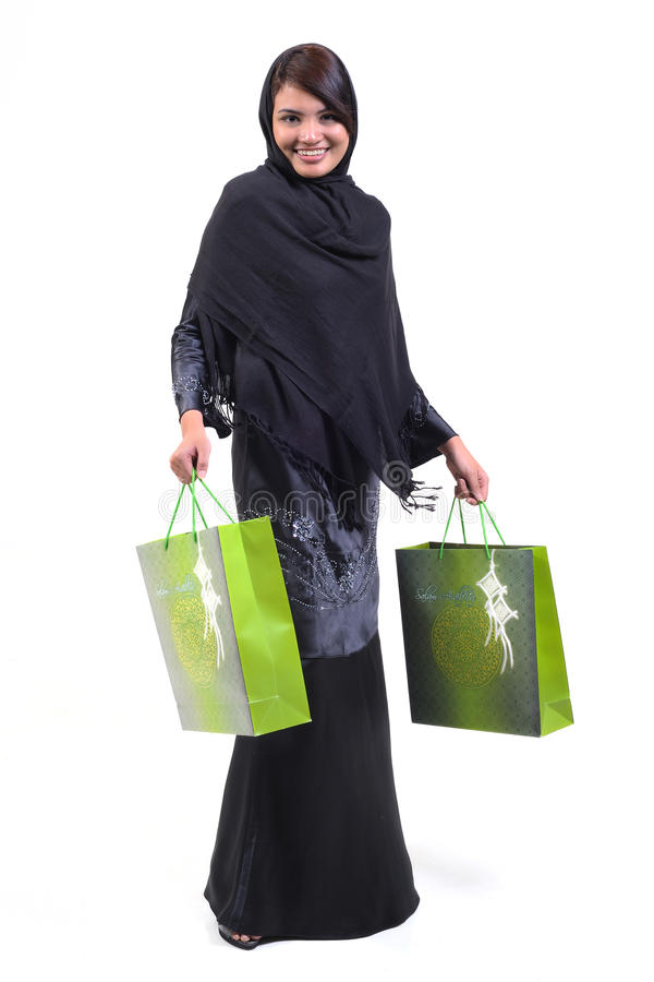 Femme et sac à provisions image libre de droits