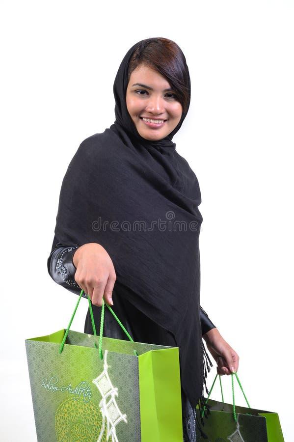 Femme et sac à provisions images stock