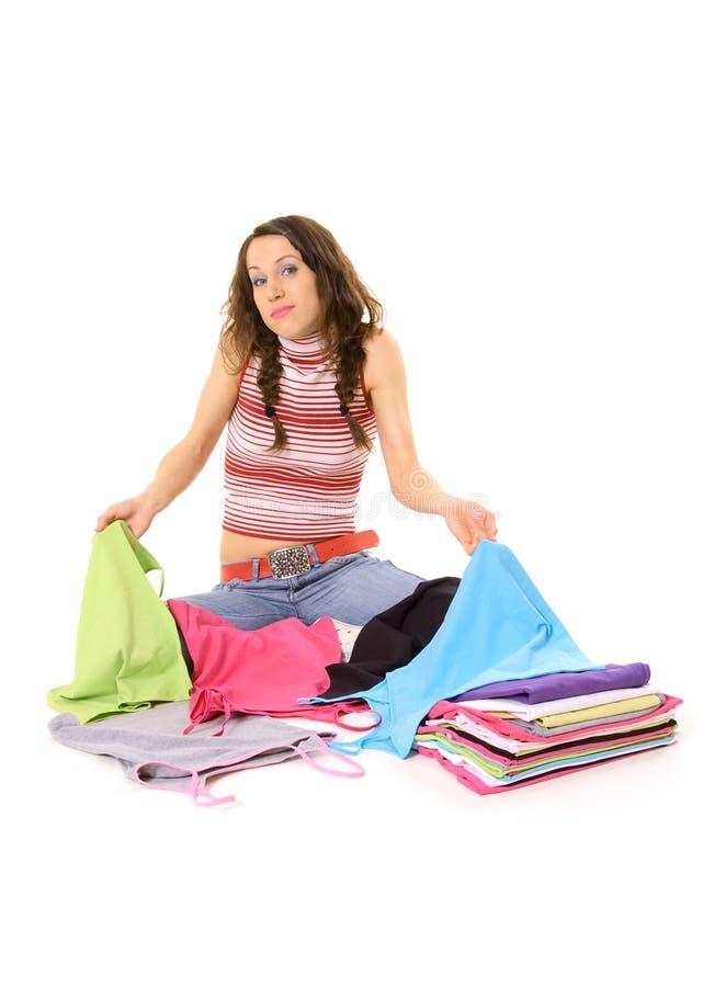 Femme et T-shirts photographie stock