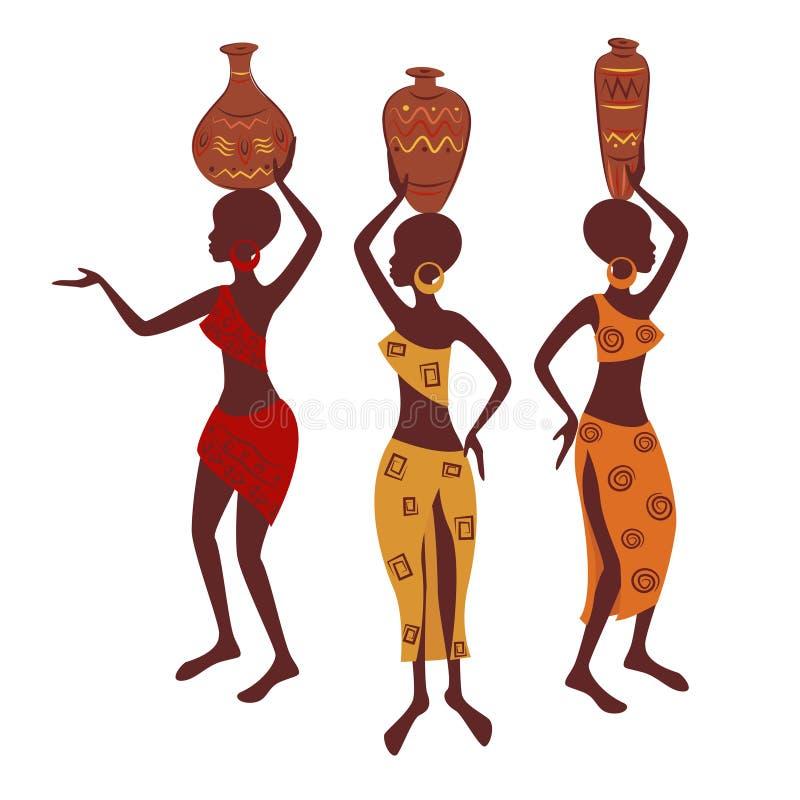 Femme ethnique avec la poterie illustration stock