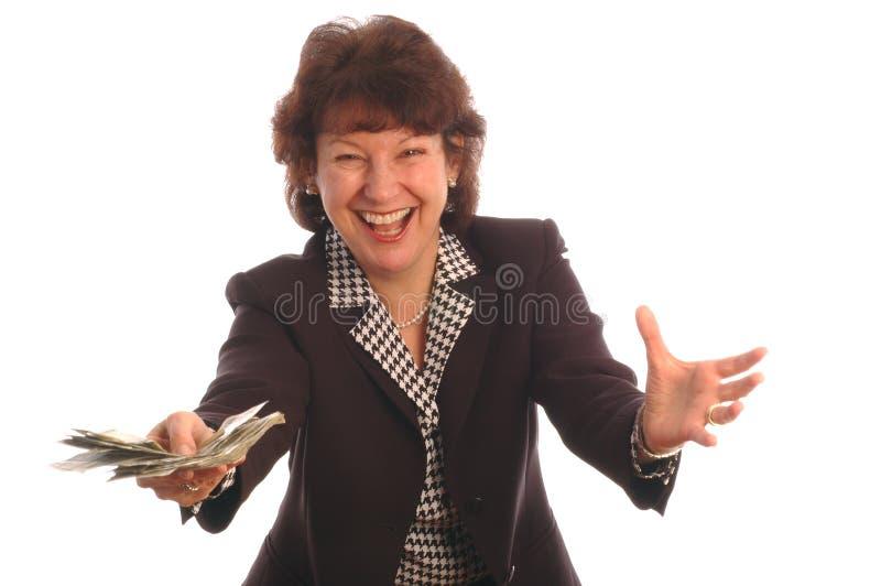 Femme exalté avec l'argent comptant 412 photo libre de droits