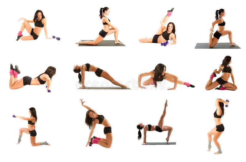 Femme exerçant le collage - yoga, forme physique, pilates images stock
