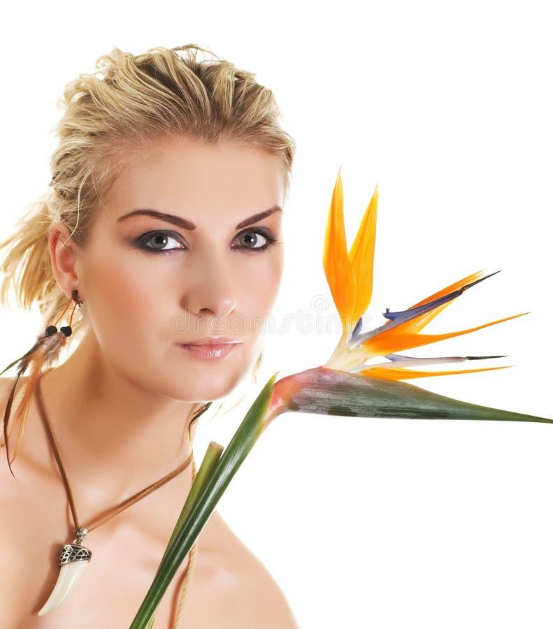 femme exotique de fleur photo stock