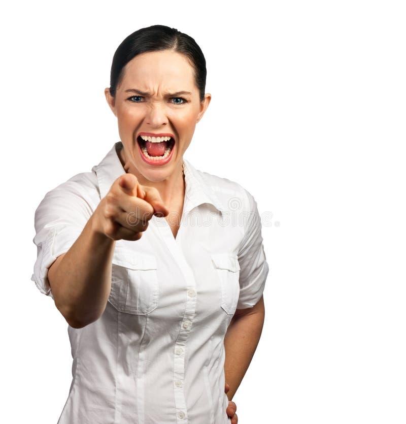 Femme fâché d'affaires dirigeant son doigt image libre de droits