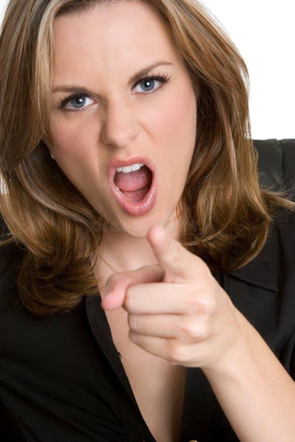 femme fâchée d'indication par les doigts photos libres de droits
