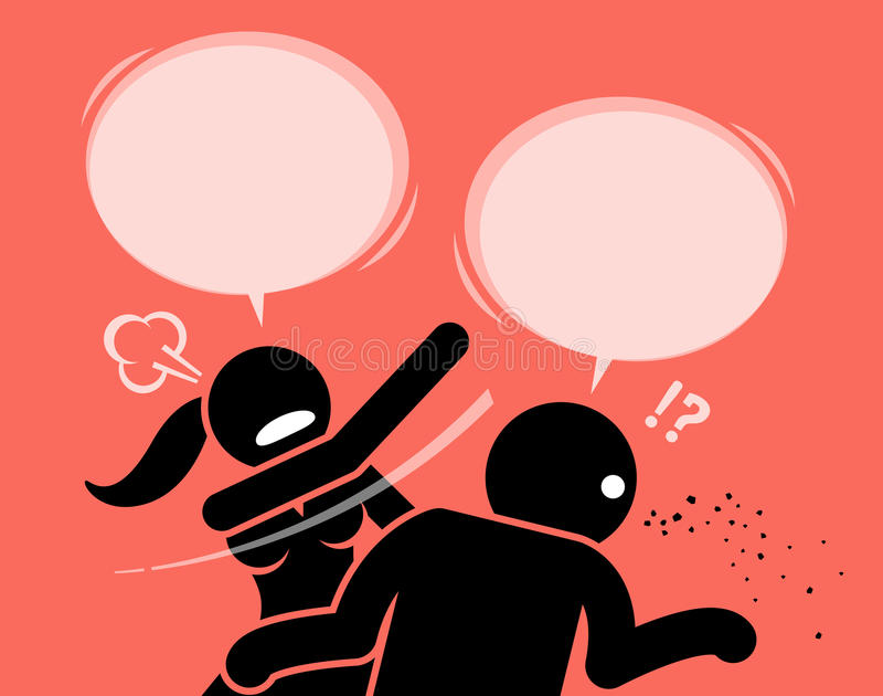 Femme fâchée giflant un homme pour être grossier et insulter illustration de vecteur