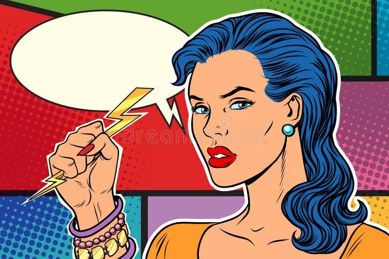 Femme fâchée, tonnerre et foudre illustration de vecteur