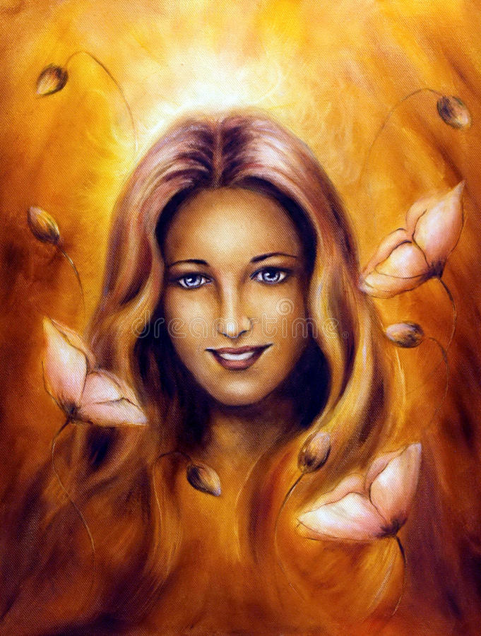 Femme féerique de déesse de ressort enchanteur avec la fleur illustration de vecteur