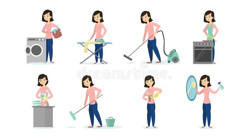 Femme faisant des corvées illustration de vecteur
