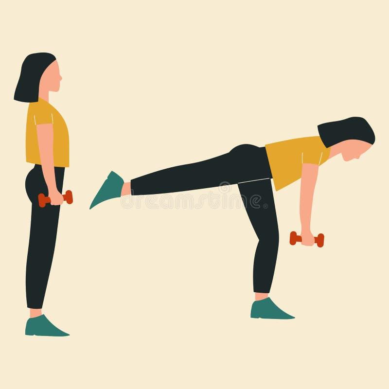 Femme faisant des deadlifts de Roumain de simple-jambe Illustrations des exercices et des séances d'entraînement de glute Illustr illustration stock