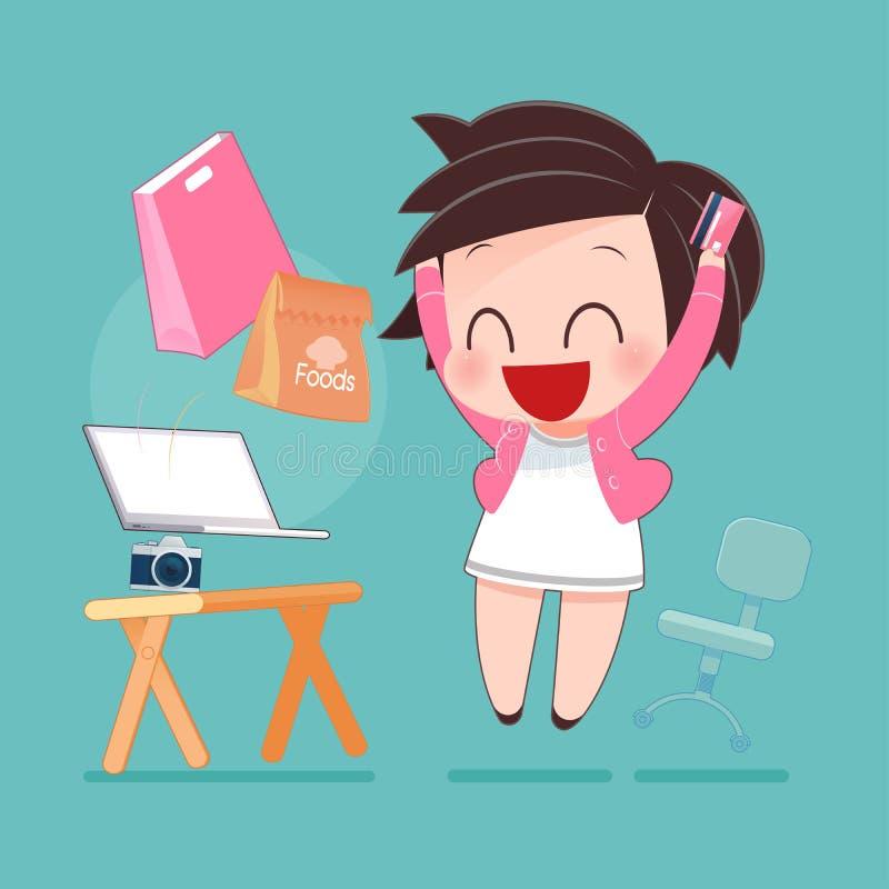 Femme faisant des emplettes en ligne avec par la carte de crédit illustration de vecteur