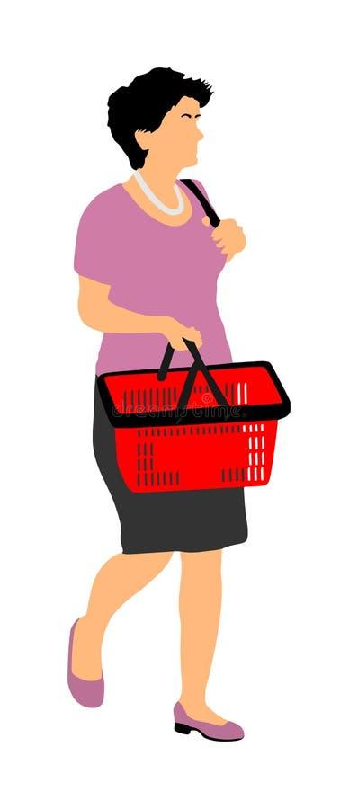 Femme faisant l'épicerie quotidienne avec le panier à provisions au supermarché, vecteur illustration libre de droits