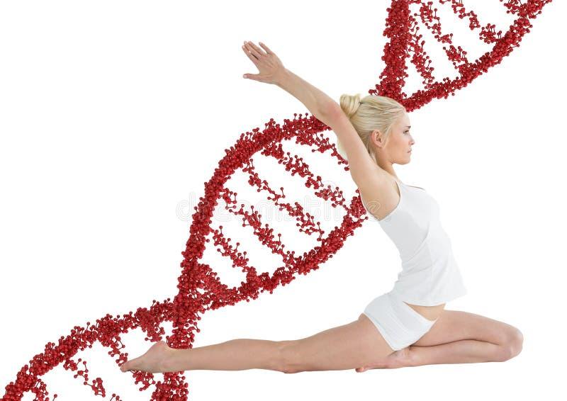 femme faisant l'étirage avec la chaîne rouge d'ADN derrière elle illustration libre de droits
