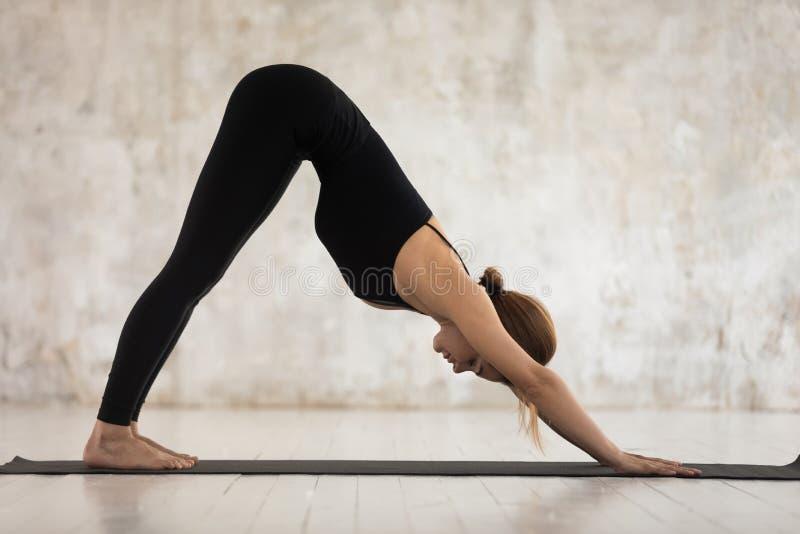 Femme faisant l'exercice orienté vers le bas de yoga de pose de chien à l'intérieur photos stock