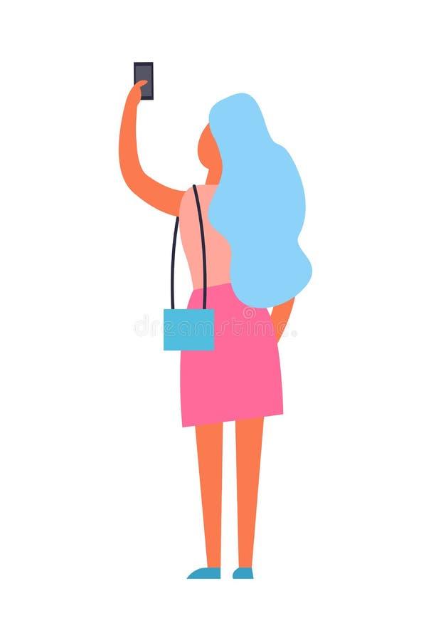 Femme faisant l'illustration de vecteur de vue de dos de Selfie illustration de vecteur