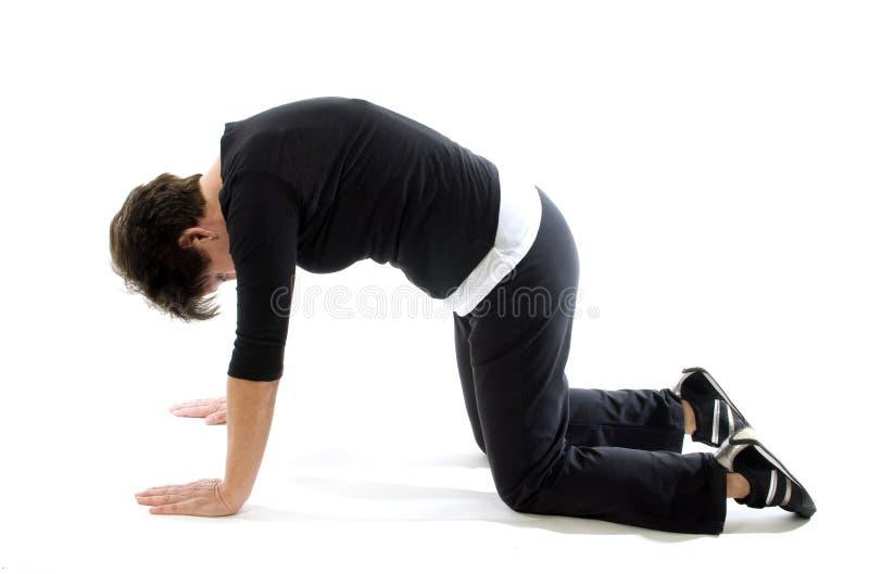 Femme faisant la position de yoga de vache à chat de presse de dos de yoga images stock
