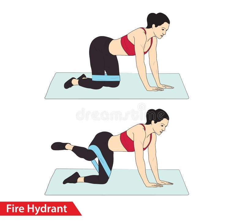 Femme faisant la séance d'entraînement de bouche d'incendie avec le craquement de bande de résistance pour le guide d'exercice illustration stock