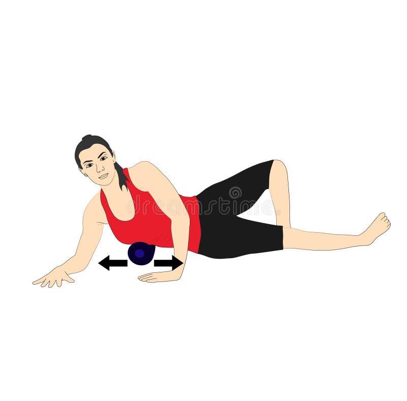 Femme faisant la séance d'entraînement pour le guide d'exercice illustration libre de droits