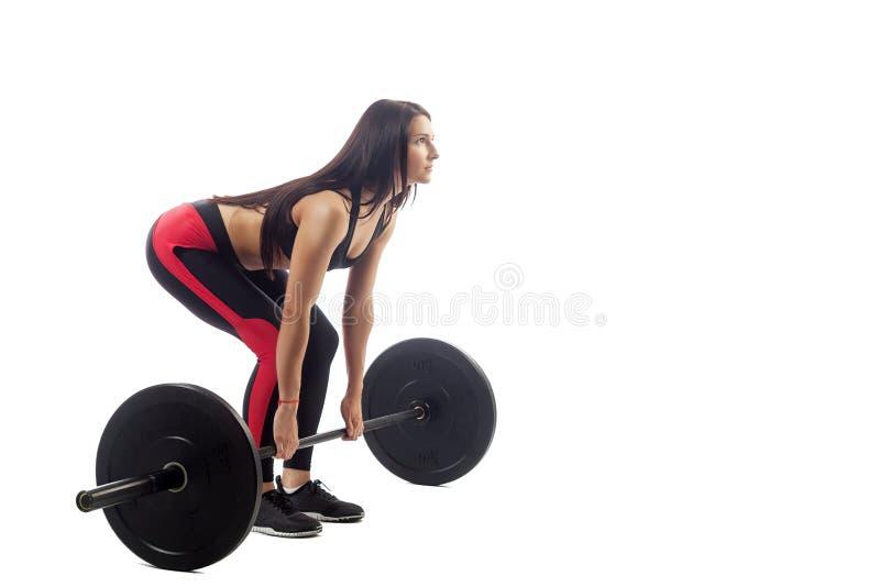 Femme faisant le deadlift image libre de droits