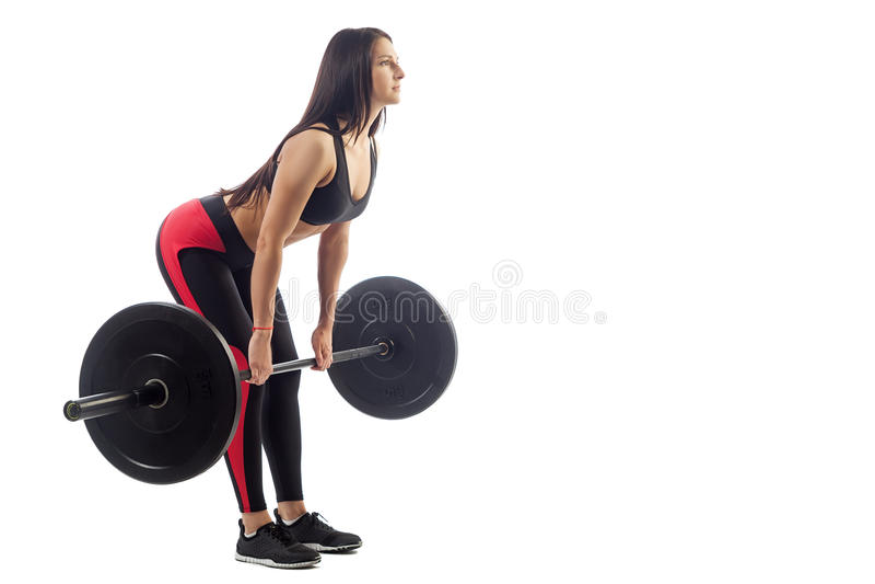 Femme faisant le deadlift image stock