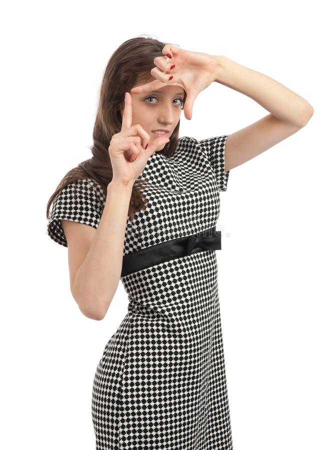 Femme faisant le geste de viseur images libres de droits