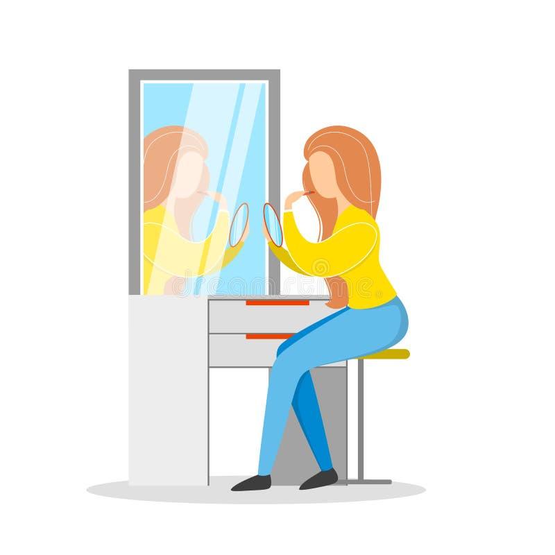 Femme faisant le maquillage au miroir Routine de matin illustration libre de droits