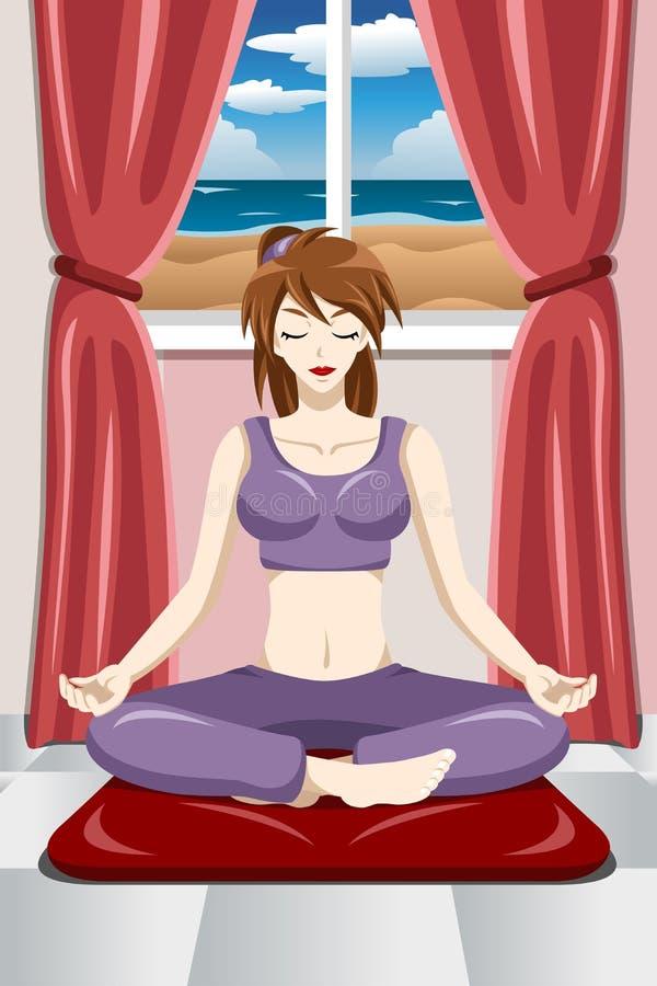 Femme faisant le yoga illustration libre de droits