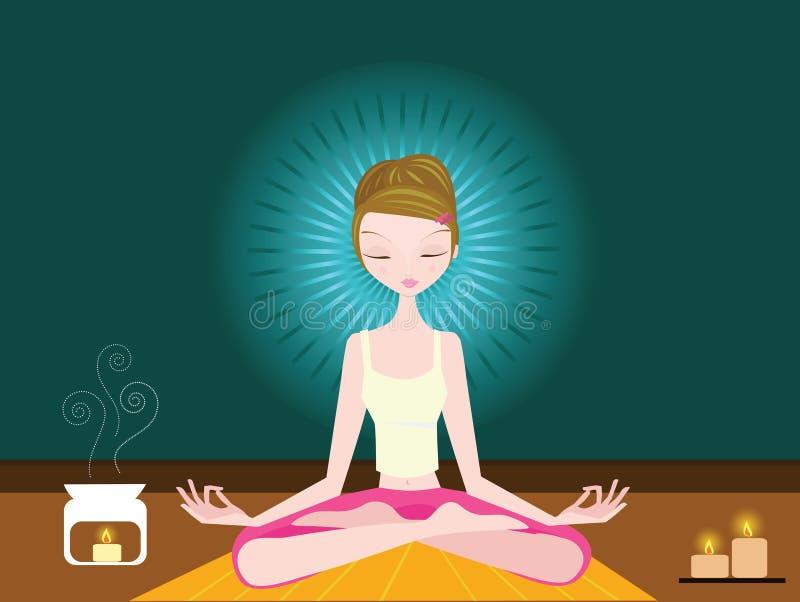 Femme faisant le yoga illustration stock