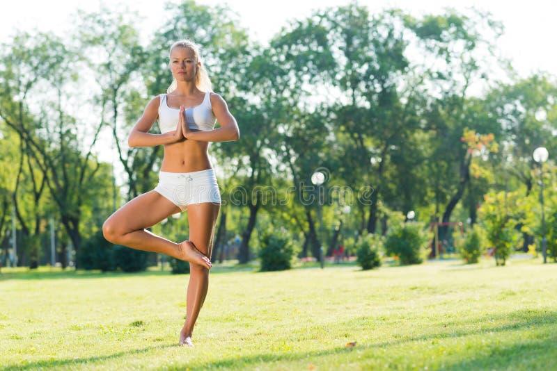 Femme faisant le yoga en parc photo stock